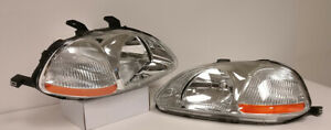 Jdm Oe Style Chrome Housing Clear Lens Amber Reflector Headlight For 96 98 Civic