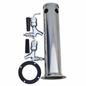 Stainless Steel Draft Beer Tower Beverage Equipment Double Faucets Drink