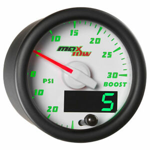 Maxtow 52mm White Double Vision Boost Vacuum Gauge Mt Wdv01
