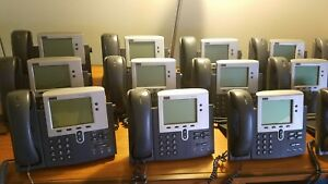 Lot Of 13 Cisco Cp 7940g 7940 7900 Voip Ip Phones With Handsets And Cords office