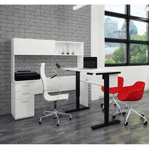 Bestar Contemporary L shape Desk Hutch Set Uptown Design White L k