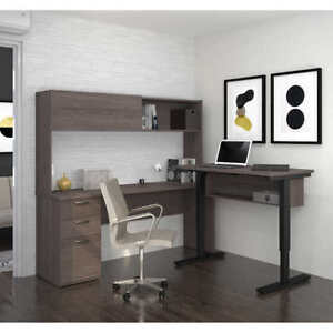 Bestar Contemporary L shape Desk Hutch Set Uptown Design Brown L k