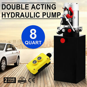 Hydraulic Double Acting Pump 12v 8qt Tank Metal Reservoir Without Remote Hot