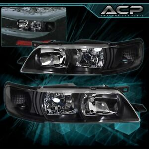 For 95 96 97 98 99 Nissan Maxima Clear Lens Black Housing Headlights R34 Style