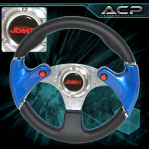 For Ford Off Road 320mm Black Blue Stiches Steering Wheel Nos Jdm Button