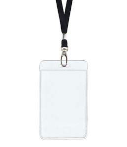 Black Id Lanyard Neck Strap Cord Metal Clip Vertical Badge Card Holder Pouch