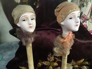 Antique French Pair Of Hat Stands Bisque Velvet Metalwork