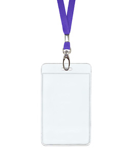 Purple Id Lanyard Neck Strap Cord Clip And Vertical Badge Tag Card Holder Pouch