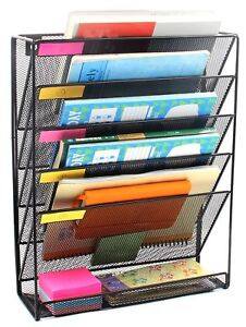 Easeoffice Mesh 5 tier File Organizer Black Hanging File Organizer Vertical Hold