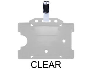 Clear Id Badge Card Holder Plastic Pass Single Sided Landscape Metal Clasp Clip