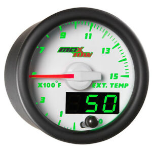 Maxtow 52mm White Double Vision 1500 f Diesel Pyrometer Egt Gauge Mt wdv08 1500