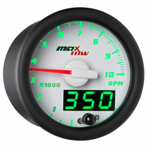 Maxtow 52mm White Double Vision 10 000 Rpm Tachometer Gauge Meter Kit Mt wdv10