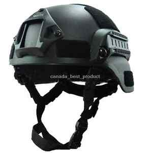 MICH 2000 Airsoft Tactical Hunting Combat Helmet with Side Rail NVG Mount Black $33.29