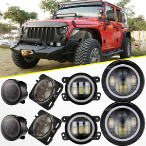 7 Led Headlight 4 Foglight turn Signal fender Lamp Combo Kit Jeep Wrangler Jk