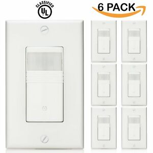 Sunco Lighting 6 Pack Vacancy Occupancy Motion Sensor Wall Switch Ul Listed