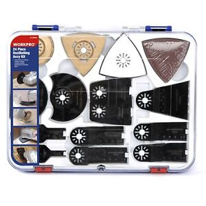 Workpro 24 piece Oscillating Accessory Kit Mixed Multitool Saw Blades For