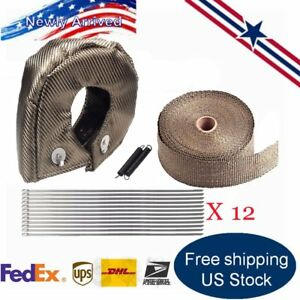 T4 Titanium Turbo Heat Shield Blanket Cover 50ft Exhaust Header Wrap Tape Hm