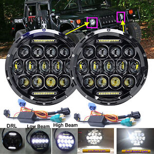 For Hummer H1 H2 H3 H3t 7 Inch 75w Round Led Headlight Sealed Beam Lamp H4 h13