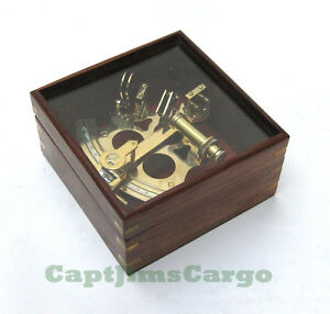 German Navy Brass Sextant 7 W Wood Glass Top Case Nautical Marine Astrolabe