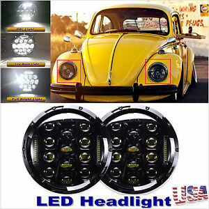 2x 7 Led Headlight Round Upgrade Hi Lo Beam 150w For 1950 79 Vw Beetle Classic