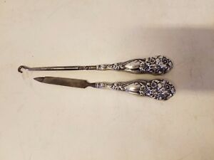 Vintage Sterling Silver Button Hook And Nail File With Floral Decorations
