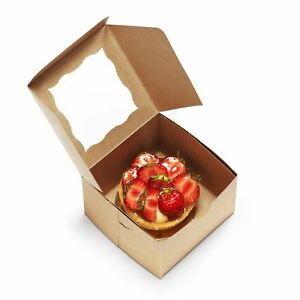 50pack Bakery Boxes With Window 4x4x2 5 Kraft Pastry Containers For Cupcakes
