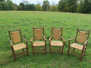 Set Of 4 Old Hickory Style Arm Chairs
