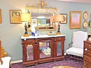 Rococo Revival Victorian Rosewood Credenza Sideboard Server Marble Top Mirrored