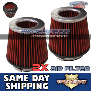 2pcs 4 Universal Air Filter For Twin Turbo Short Ram Intake Chrome Red