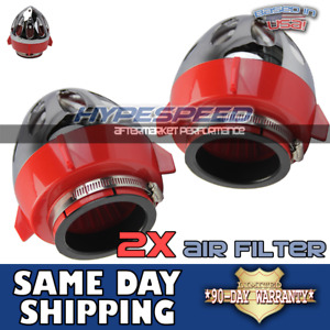 2pcs 3 Universal Bullet Hot Jet For Twin Turbo Short Ram Intake Red