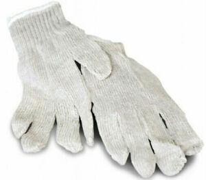 108 Pairs White Poly Cotton String Knit Economy Work Safety Gloves Mens Size
