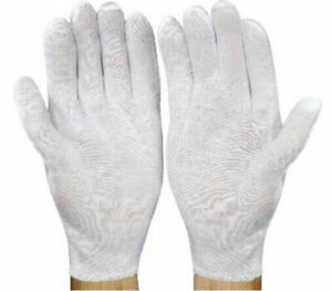 36 Pairs White Inspection Cotton Lisle Work Gloves Coin Jewelry Lightweight Men