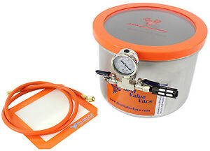 Best Value Vacs 3 Gallon Wide Stainless Steel Side Mount Vacuum Chamber