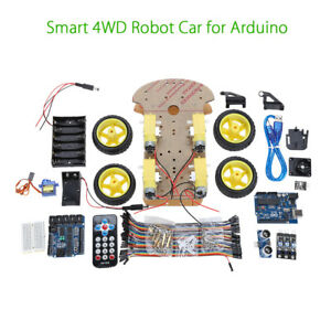 4wd Smart Car Tracking Robot Car Chassis Kit Reduction Motor For Arduino Starter