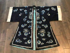 Antique Chinese Qing Dynasty Silk Embroidered Robe Butterfly Floral Decoration