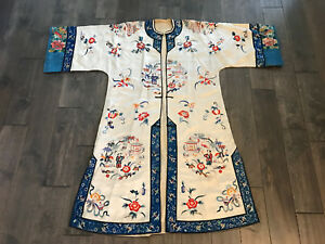 Antique Chinese Qing Dynasty Silk Embroidered Robe Child Pagoda Floral Dec