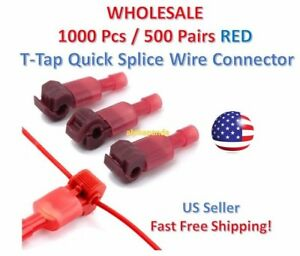 1000pc Insulated 22 18 Awg T taps Quick Splice Wire Terminal Connectors Kit Red