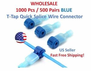 1000pc Insulated 16 14 Awg T taps Quick Splice Wire Terminal Connectors Kit Blue