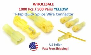 1000pc Insulated 12 10 Awg T taps Quick Splice Wire Terminal Connectors Yellow