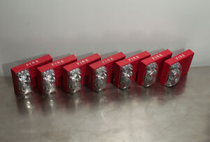 lot Of 7 Simplex Fire Alarm Horn Strobe 4906 9128 Red 24 Vdc Good Condition