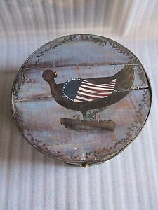 Rare Antique 19th C American Patriotic Painting Style Large Pantry Box