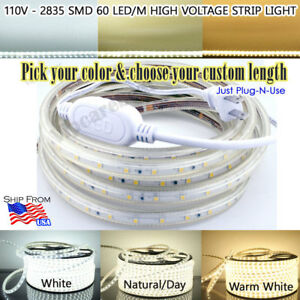 3ft 164ft 110v Highvoltage 2835 60led m Smd Strip Light White warm day 1w 100lm