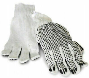 Cotton Pvc Single Dotted Work Gloves For Men s 132 Pairs