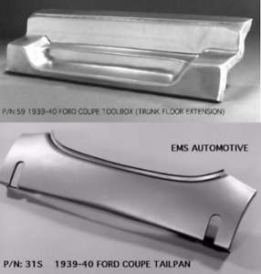 Ford 1939 1940 Coupe Tailpan Tail Pan With Bumper Slots W Toolbox 31s 59 Ems
