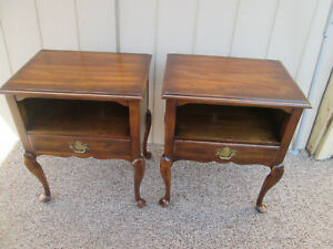 52733 Pair Statton Oxford Cherry Nightstand End Table Stand S