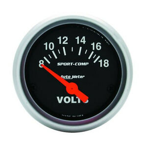 Auto Meter Sport Comp Electric Voltmeter Gauge 2 1 16 52mm 8 18 Volts