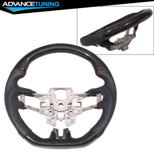 Fits 15 17 Ford Mustang Cf Caron Fiber With Real Leather Steering Wheel Black