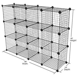 Only Hangers Metal Wire Storage Cubes 3 Ft X 4 Ft Black