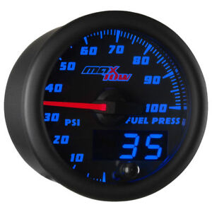 Maxtow 52mm Black Blue Double Vision 100 Psi Fuel Pressure Gauge Mt Bdv11