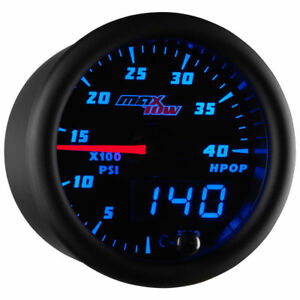 Maxtow 52mm Black Blue High Pressure Oil Pressure Hpop Gauge Mt bdv21